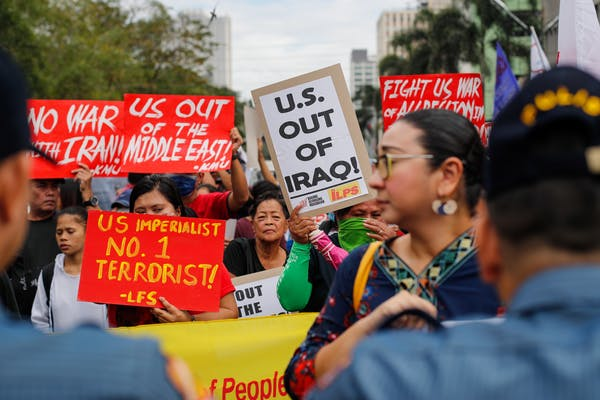 Activists calling for de-escalation in the conflict between the US and Iran in January. MARK R. CRISTINO EPA file-20200206-59232-jnhqql