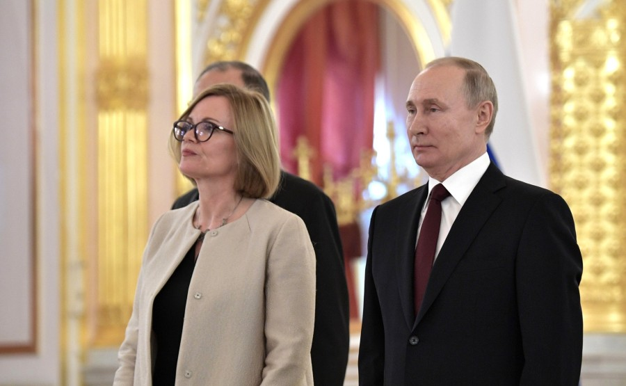 Deborah Jane Bronnert (United Kingdom of Great Britain and Northern Ireland) presents her letter of credence to Vladimir Putin. N 20 TKnapUhaPAY3km8or9rgG46afqej6x6G