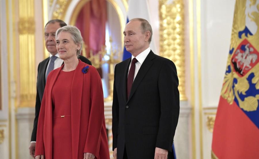 Ekaterini Nassika (Hellenic Republic) presents her letter of credence to Vladimir Putin. N 13 mbwbHtWKa00AYG8Kg4EKlEA8vvGL1xSs