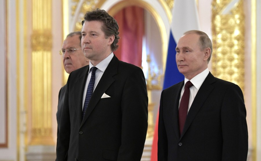 Geza Andreas von Geyr (Germany) presents his letter of credence to Vladimir Putin. N 8 PTNITO2HtJjEBsm8MycRwRWi3SscLuEo