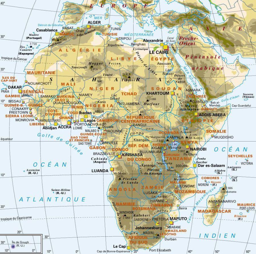 AFRIQUE AVEC MONTAGNE carte-politique-afrique