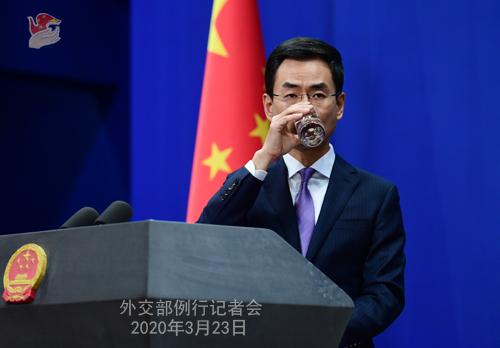 CHINE N° 4 Conférence de presse du 23 mars 2020 tenue par le Porte-parole du Ministère des Affaires étrangères Geng Shuang W020200326586258526246