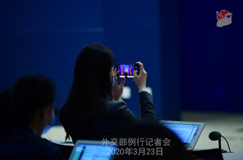 CHINE N° 5 Conférence de presse du 23 mars 2020 tenue par le Porte-parole du Ministère des Affaires étrangères Geng Shuang W020200326586258533186