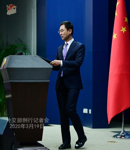 CHINE PH 11 Conférence de presse du 19 mars 2020 tenue par le porte-parole du Ministère des Affaires étrangères Geng Shuang W020200323391698077446