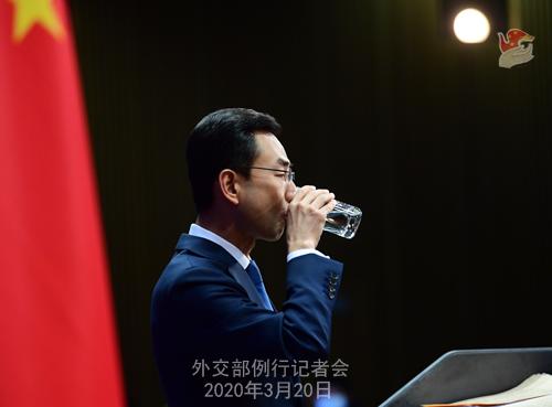 CHINE PH 18 Conférence de presse du 20 mars 2020 tenue par le porte-parole du Ministère des Affaires étrangères Geng Shuang W020200325416113352414