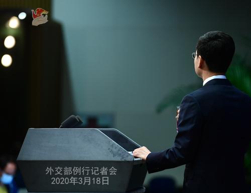 CHINE PH 3 Conférence de presse du 18 mars 2020 tenue par le porte-parole du Ministère des Affaires étrangères Geng Shuang W020200323380873357565