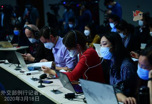 CHINE PH 4 Conférence de presse du 18 mars 2020 tenue par le porte-parole du Ministère des Affaires étrangères Geng Shuang W020200323380873357821