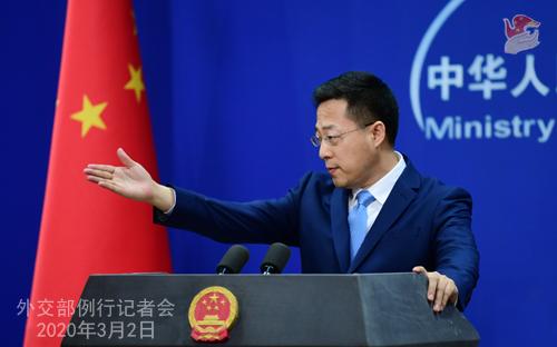 Conférence de presse du 2 MARS 2020 tenue par le Porte-parole du Ministère des Affaires étrangères Zhao Lijian N 18 --- W020200305293451785999