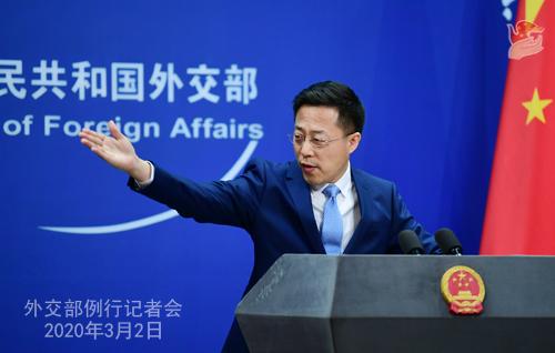 Conférence de presse du 2 MARS 2020 tenue par le Porte-parole du Ministère des Affaires étrangères Zhao Lijian N 20 --- W020200305293451803075