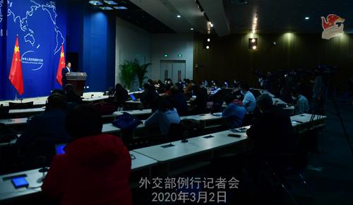 Conférence de presse du 2 MARS 2020 tenue par le Porte-parole du Ministère des Affaires étrangères Zhao Lijian N 22 --- W020200305293451821451