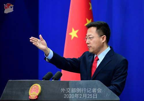 Conférence de presse du 25 février 2020 tenue par le Porte-parole du Ministère des Affaires étrangères Zhao Lijian N 01 --- W020200228408074980871