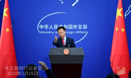 Conférence de presse du 25 février 2020 tenue par le Porte-parole du Ministère des Affaires étrangères Zhao Lijian N 03 --- W020200228408075008168