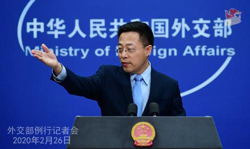 Conférence de presse du 26 février 2020 tenue par le Porte-parole du Ministère des Affaires étrangères Zhao Lijian N 05 --- W020200302542263686867