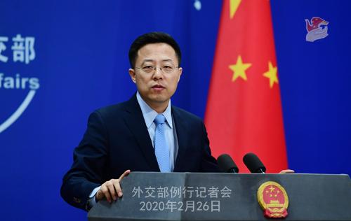 Conférence de presse du 26 février 2020 tenue par le Porte-parole du Ministère des Affaires étrangères Zhao Lijian N 07 --- W020200302542263702768