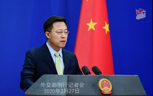 Conférence de presse du 27 février 2020 tenue par le Porte-parole du Ministère des Affaires étrangères Zhao Lijian N 10 --- W020200302567064480739