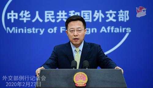 Conférence de presse du 27 février 2020 tenue par le Porte-parole du Ministère des Affaires étrangères Zhao Lijian N 11 --- W020200302567064496547