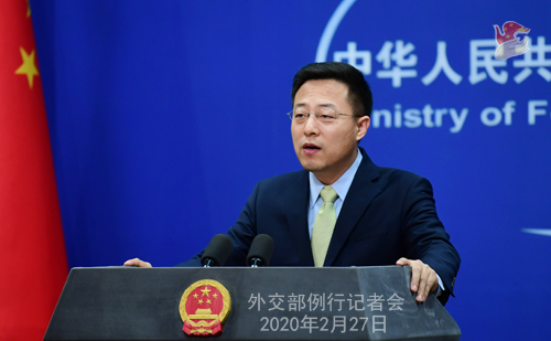 Conférence de presse du 27 février 2020 tenue par le Porte-parole du Ministère des Affaires étrangères Zhao Lijian N 12 --- W020200302567064503823