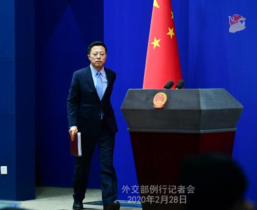 Conférence de presse du 28 février 2020 tenue par le Porte-parole du Ministère des Affaires étrangères Zhao Lijian N 13 --- W020200304388456983054