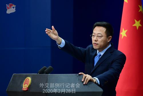 Conférence de presse du 28 février 2020 tenue par le Porte-parole du Ministère des Affaires étrangères Zhao Lijian N 14 --- W020200304388456992529