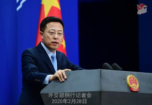 Conférence de presse du 28 février 2020 tenue par le Porte-parole du Ministère des Affaires étrangères Zhao Lijian N 15 --- W020200304388457003334