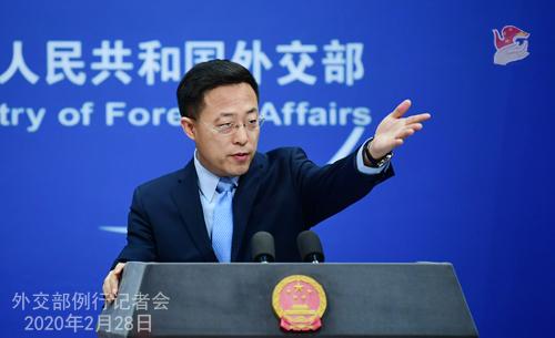 Conférence de presse du 28 février 2020 tenue par le Porte-parole du Ministère des Affaires étrangères Zhao Lijian N 16 --- W020200304388457017666