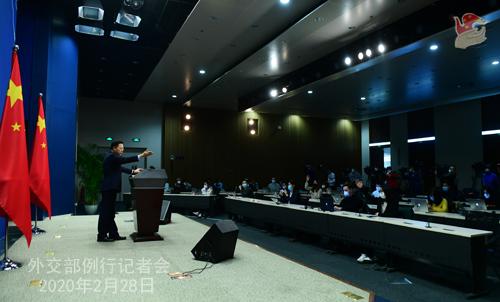 Conférence de presse du 28 février 2020 tenue par le Porte-parole du Ministère des Affaires étrangères Zhao Lijian N 17 --- W020200304388457012234