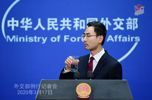 Conférence de presse N° 20 du 17 mars 2020 tenue par le porte-parole du Ministère des Affaires étrangères Geng Shuang......... W020200320381513811405