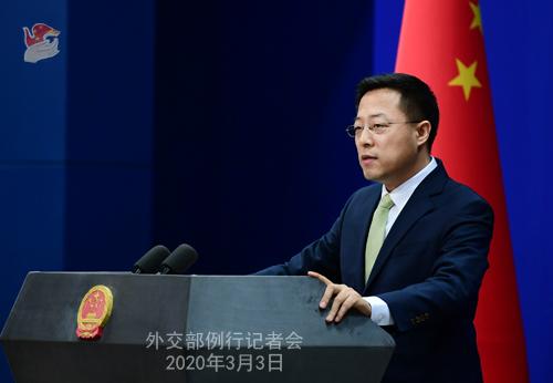 Conférence N° 1 de presse du 3 mars 2020 tenue par le Porte-parole du Ministère des Affaires étrangères Zhao Lijian W020200306370527461124