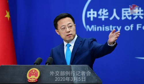 Conférence N° 10 de presse du 5 mars 2020 tenue par le Porte-parole du Ministère des Affaires étrangères Zhao Lijian W020200308817227468834
