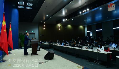 Conférence N° 13 de presse du 5 mars 2020 tenue par le Porte-parole du Ministère des Affaires étrangères Zhao Lijian W020200308817227481371