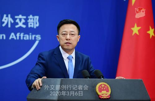 Conférence N° 14 de presse du 6 mars 2020 tenue par le Porte-parole du Ministère des Affaires étrangères Zhao Lijian W020200311395784214200