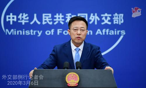 Conférence N° 16 de presse du 6 mars 2020 tenue par le Porte-parole du Ministère des Affaires étrangères Zhao Lijian W020200311395784222253