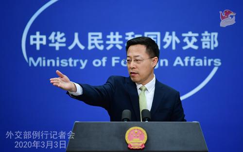 Conférence N° 2 de presse du 3 mars 2020 tenue par le Porte-parole du Ministère des Affaires étrangères Zhao Lijian W020200306370527479237