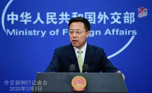 Conférence N° 3 de presse du 3 mars 2020 tenue par le Porte-parole du Ministère des Affaires étrangères Zhao Lijian W020200306370527489393