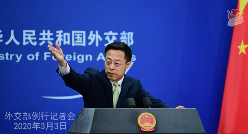 Conférence N° 4 de presse du 3 mars 2020 tenue par le Porte-parole du Ministère des Affaires étrangères Zhao Lijian W020200306370527485117