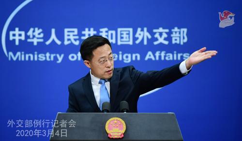 Conférence N° 6 de presse du 4 mars 2020 tenue par le Porte-parole du Ministère des Affaires étrangères Zhao Lijian W020200308815065668613