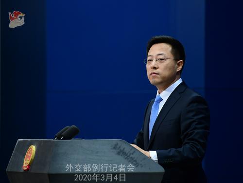 Conférence N° 7 de presse du 4 mars 2020 tenue par le Porte-parole du Ministère des Affaires étrangères Zhao Lijian W020200308815065672266