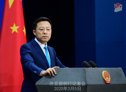 Conférence N° 9 de presse du 5 mars 2020 tenue par le Porte-parole du Ministère des Affaires étrangères Zhao Lijian W020200308817227459918