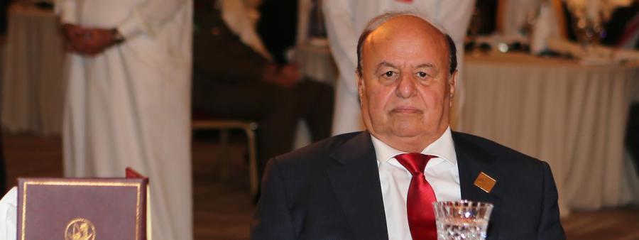Le président yéménite, Abd Rabbo Mansour Hadi, lors d'un déplacement à Doha (Qatar), le 21 mai 2016. (KARIM JAAFAR AFP)11065889