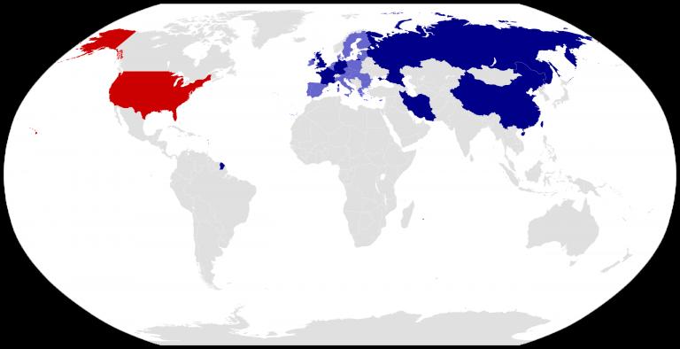 Les pays signataires du JCPOA – les États-Unis sont marqués en rouge depuis leur retrait unilatéral décidé par l'administration Trump. (© Wikimedia)2560px-JCPOA_signatories.svg_-768x394