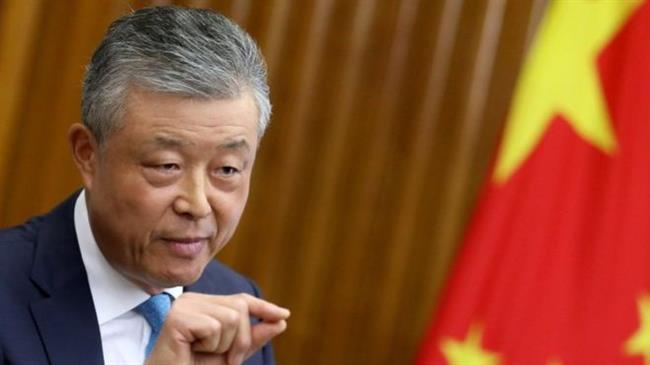 Liu Xiaoming, ambassadeur de Chine au Royaume-Uni, lors d'une conférence de presse hier, lundi 9 septembre 2019. ©Reuters3b68c894-3cc9-4f85-96fd-d36df323eaae
