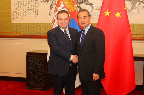 On December 15, 2016, Foreign Minster Wang Yi held talks in Beijing with First Deputy Prime Minister and Foreign Minister Ivica Dacic of Serbia.W020161220589820291588