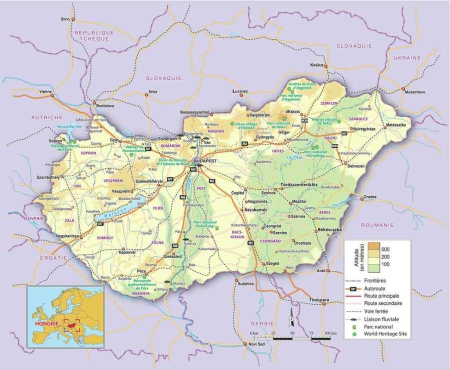carte_hongrie_villes_altitude_routes_autoroutes_voie_ferree_liaison_fluviale_parcs_sites_historiques