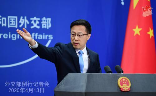 CHINE Conférence de presse PH 1 du 13 avril 2020 tenue par le porte-parole du Ministère des Affaires étrangères Zhao Lijian W020200416375929758178