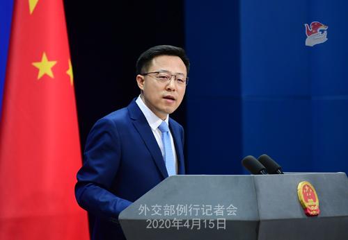 CHINE Conférence de presse PH 13 du 15 avril 2020 tenue par le porte-parole du Ministère des Affaires étrangères Zhao Lijian W020200419819893904910