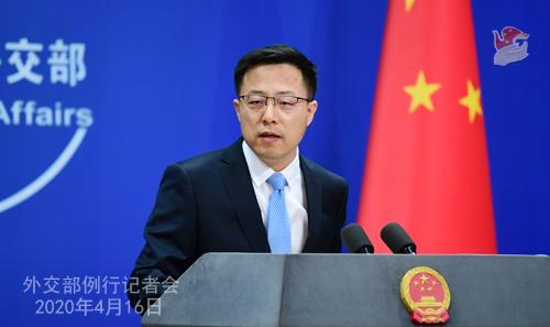 CHINE Conférence de presse PH 16 du 16 avril 2020 tenue par le porte-parole du Ministère des Affaires étrangères Zhao Lijian W020200419822260897590