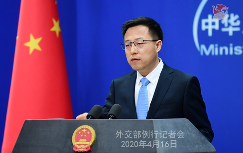 CHINE Conférence de presse PH 17 du 16 avril 2020 tenue par le porte-parole du Ministère des Affaires étrangères Zhao Lijian W020200419822260906388