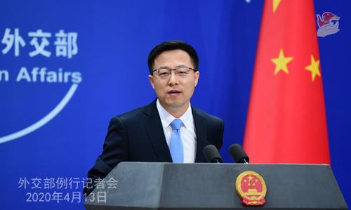 CHINE Conférence de presse PH 2 du 13 avril 2020 tenue par le porte-parole du Ministère des Affaires étrangères Zhao Lijian W020200416375929763555