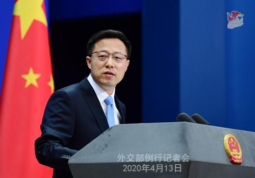 CHINE Conférence de presse PH 3 du 13 avril 2020 tenue par le porte-parole du Ministère des Affaires étrangères Zhao Lijian W020200416375929764038