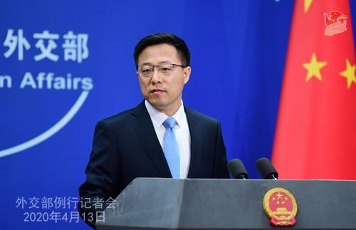 CHINE Conférence de presse PH 4 du 13 avril 2020 tenue par le porte-parole du Ministère des Affaires étrangères Zhao Lijian W020200416375929774402